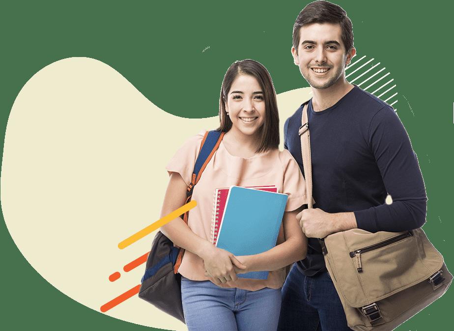 Dos estudiantes alegres, sosteniendo sus materiales de estudio
