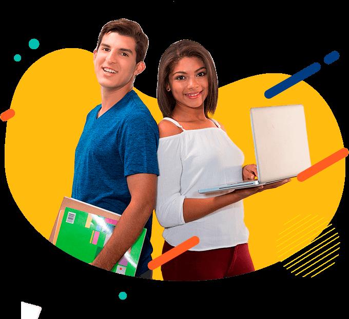 Estudiantes sonriendo, sosteniendo unos libros y una computadora portátil