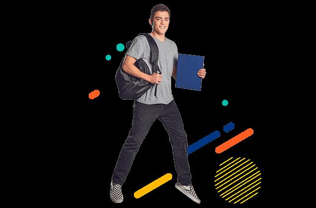 Estudiante sonriendo, sosteniendo un salveque y un libro